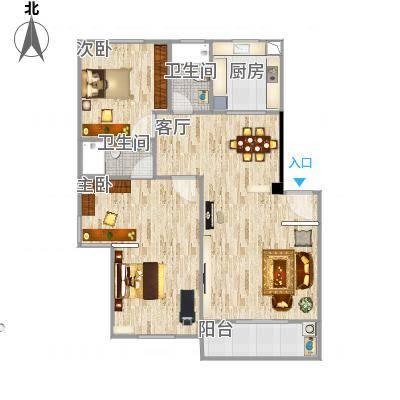 航空宿舍116平的户型图