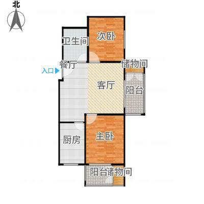 兴业苑B5户型 85.94平米 2居2厅2卫户型-副本