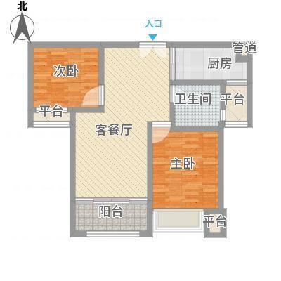 莱蒙水榭春天88.00㎡B户型(88-90㎡)家配图户型2室2厅1卫1厨-副本