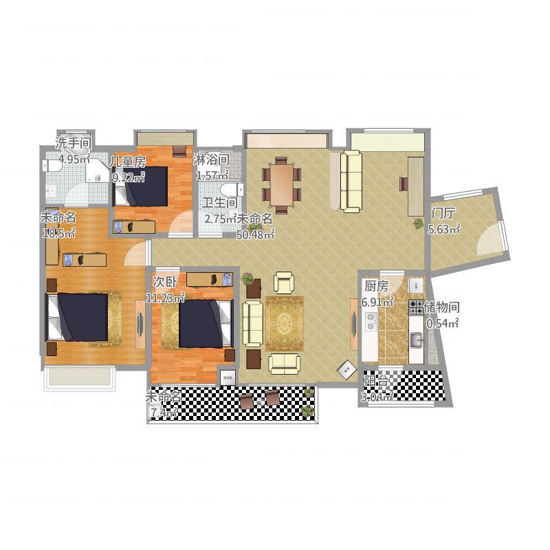 中信水岸城d户型142平米设计-副本图片