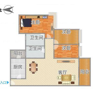 雅居乐熹玥126平方3房户型-副本