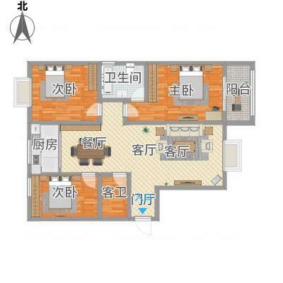 140方三室两厅一厨一卫-副本