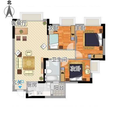 创美・世纪城8.52㎡户型3室2厅1卫1厨-副本