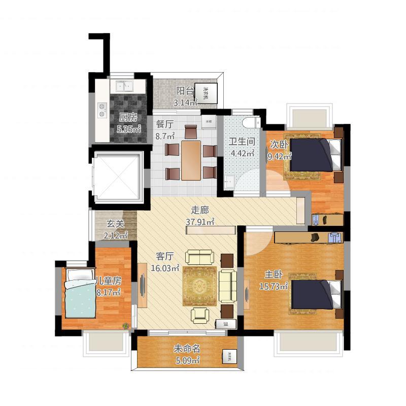 户型设计 120平三房两厅改户型后-副本  海南 保亭 芙蓉小区 套内面积