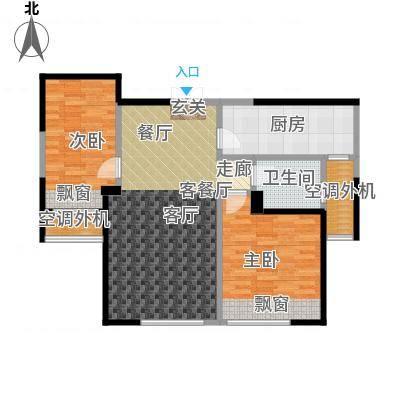 三江尊园85.00㎡D户型2室2厅1卫-副本