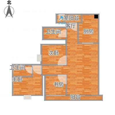 浔峰花苑105方南向户型三室两厅