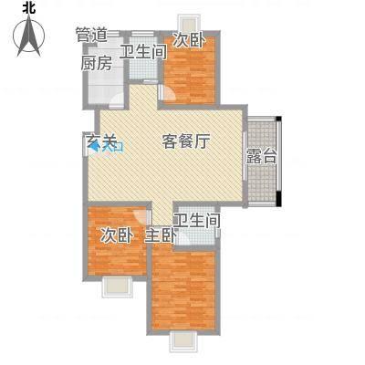鼎天广场136.71㎡A1户型3室2厅2卫1厨-副本