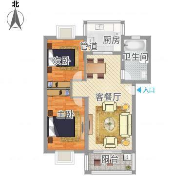 两室两厅一卫—两房朝南(河风丽庭88.00㎡)
