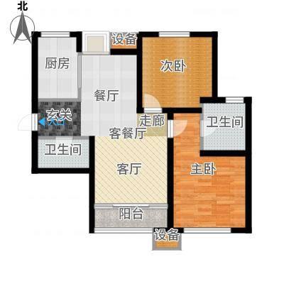 东丽1号94.40㎡D户型 两室两厅两卫户型-副本
