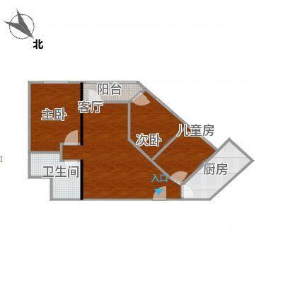 100方3房2厅钻石户型-无家具