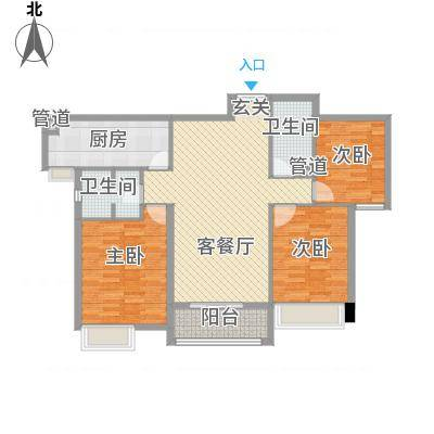 淮安万达广场128.00㎡B1户型3室2厅2卫-副本