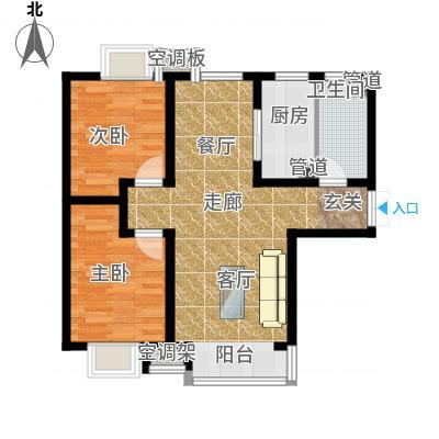 富地广场85.00㎡F1户型 两室两厅一卫户型2室2厅1卫-副本