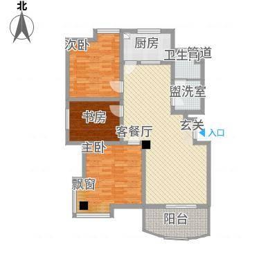 都市花园127.00㎡户型3室2厅1卫1厨-副本