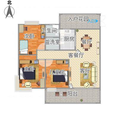 合肥_水安盛世桃源_118m^2装修模拟图