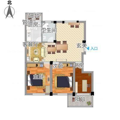 繁裕新村5.00㎡户型3室1厅1卫1厨-副本
