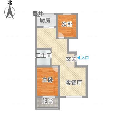 左岸香颂88.60㎡B2户型2室2厅1卫1厨-副本