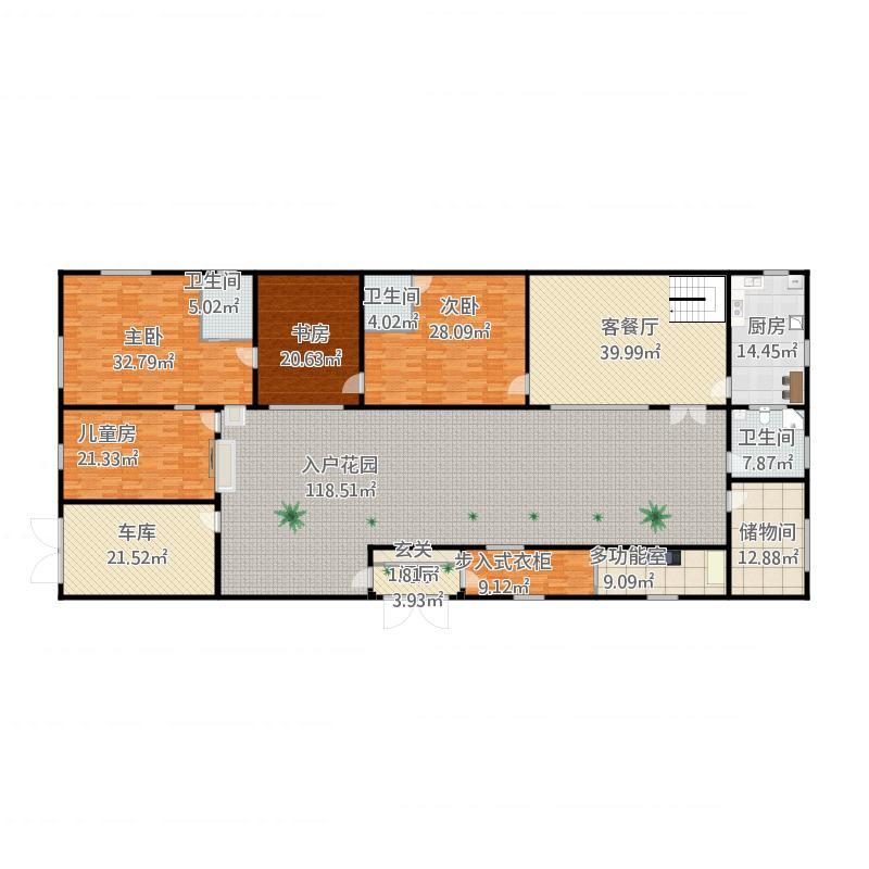 长方形农村房屋户型设计平面图及