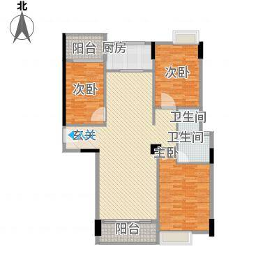 天和豪庭124.00㎡H户型3室2厅2卫1厨-副本