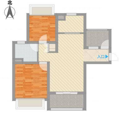 绿地启航社5期88.00㎡C-1户型2室1厅1卫1厨-副本
