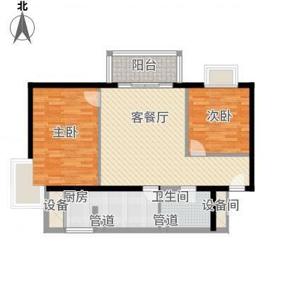 丽都东镇滨河1号别墅90.00㎡户型2室1厅1卫1厨-副本