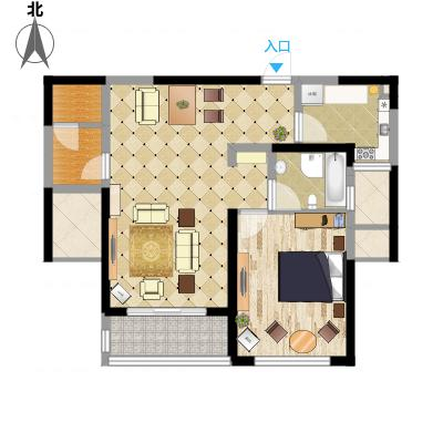 康桥半岛秀溪公寓90.00㎡1房户型1室2厅1卫1厨-副本