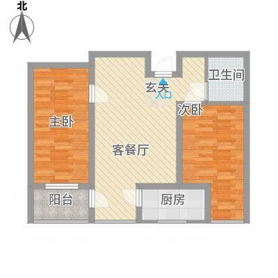 海纳・现代城二期83.00㎡D户型2室2厅1卫1厨-副本