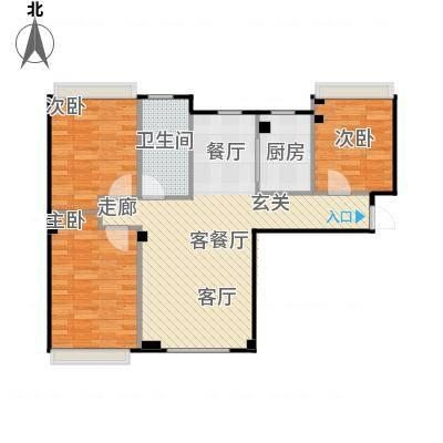 海天富地94.00㎡C户型 三室二厅94平米户型图户型3室2厅1卫-副本