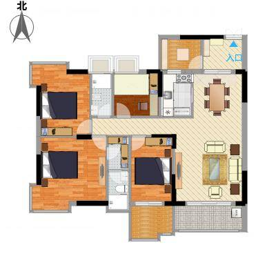 大唐盛世三期142.86㎡3幢02单元户型3室2厅2卫1厨-副本
