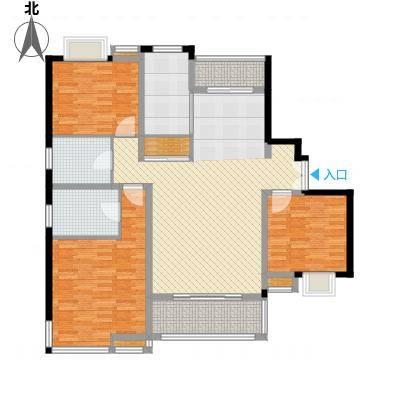 万源城逸郡134.00㎡房型: 三房; 面积段: 134 -143 平方米; 户型-副本