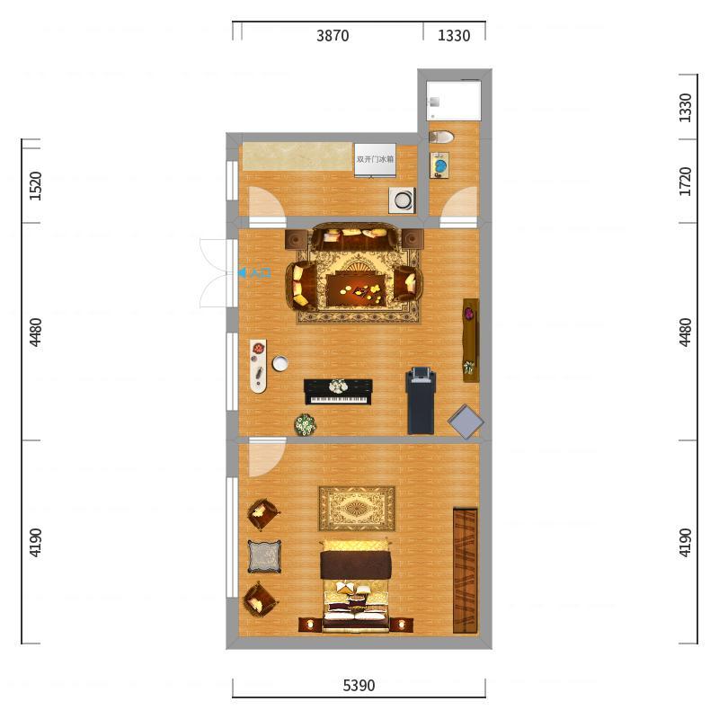 天下工作室_东街平方小户型装修设计方案_概览效果图