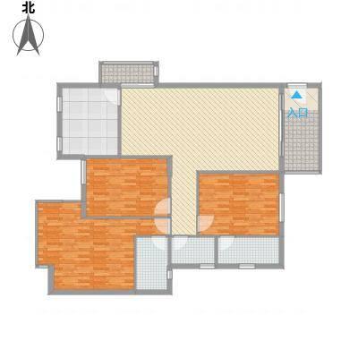 锦绣旗峰138.27㎡锦绣旗峰户型图8栋标准层B4户型3室2厅3卫1厨户型3室2厅3卫1厨-副本