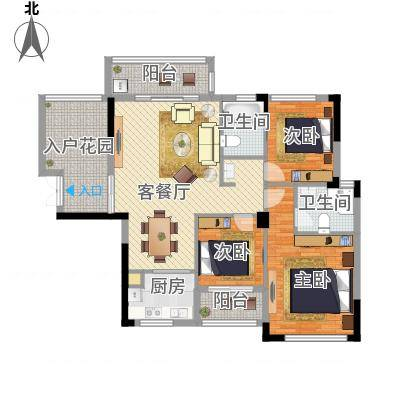 三室两厅两卫—三房朝南—双阳台(海光新都2户型)