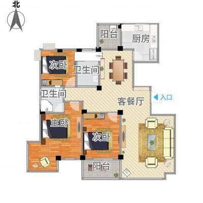 三室两厅两卫—三房朝南—双阳台(丽园馨都)