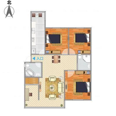 三室两厅两卫—三房朝南(海怡花园)