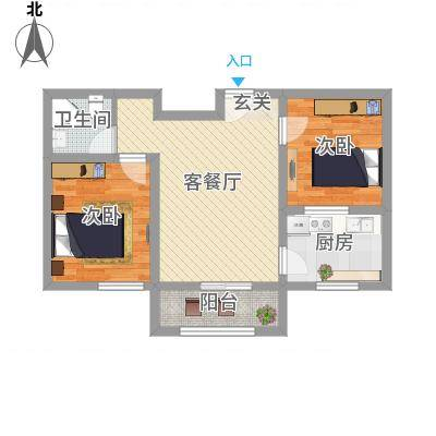 翡翠江南65.00㎡B65户型2室1厅1卫1厨-副本