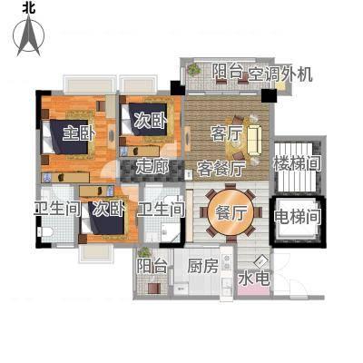 肇庆碧桂园96.35㎡天麓山三期 1号楼08单位户型3室2厅2卫-副本