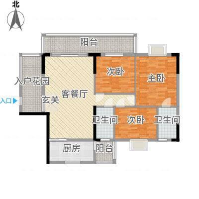 朗晴轩主力户型2 3室2厅2卫1厨 118.00㎡-副本