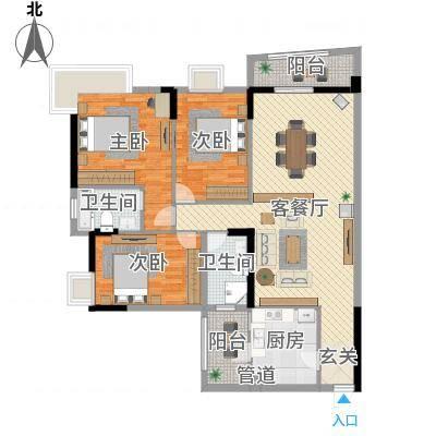 枫林水岸豪庭132.50㎡1#B单元010户型3室2厅2卫1厨-副本