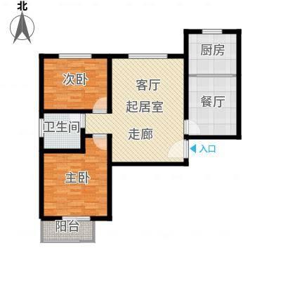中和盛景91.38㎡二室二厅一卫户型2室2厅1卫-副本