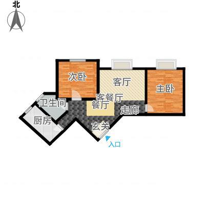 铜锣湾城市福邸89.72㎡2-02户型2室1厅1卫1厨-副本