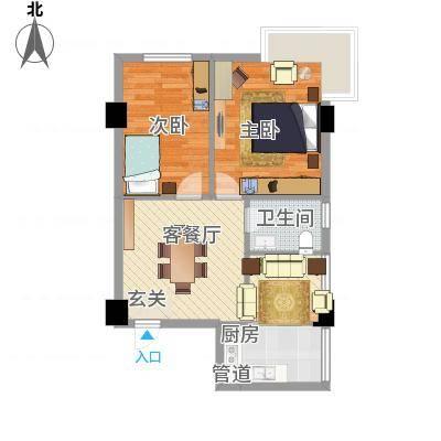 芝兰新城74.10㎡户型2室2厅1卫1厨-副本