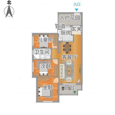 万科金域国际96.00㎡万科金域国际户型图3-5栋05、06单元标准层蓝调时光户型3室2厅2卫1厨户