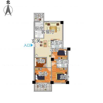 芝兰新城132.10㎡户型2室2厅1卫1厨-副本