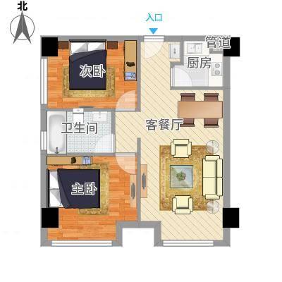 天庐苑户型2室2厅1卫1厨-副本
