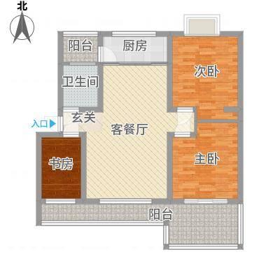 怡景华庭116.71㎡17#H1户型3室2厅1卫1厨-副本