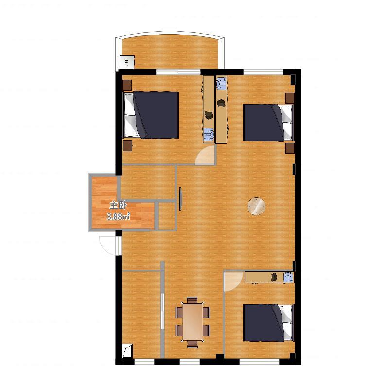 户型设计 房间布局  浙江 杭州 未知小区 套内面积:88.