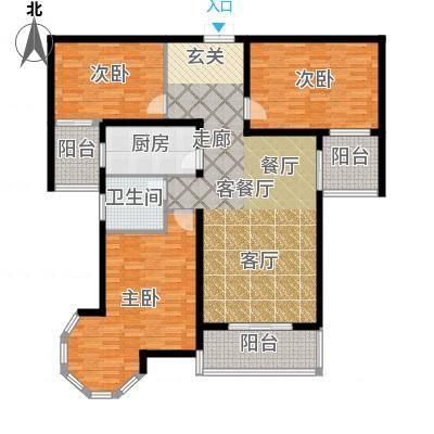 南阳桂花城御景138.85㎡3室2厅1卫1厨户型3室2厅1卫-副本-副本