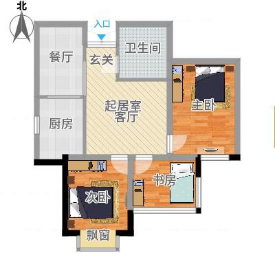 花香小镇76.00㎡J户型2室2厅1卫1厨-副本