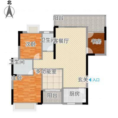 金山湖卧龙传说A3户型,3室2厅2卫,约122.91平米