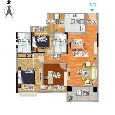 大自然广场89.98㎡7幢02户型3室2厅2卫-副本